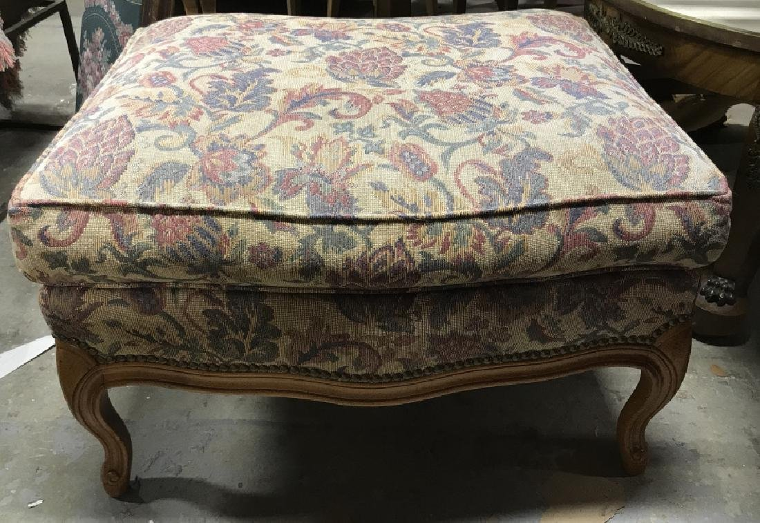 Vintage Upholstered Ottoman W Wooden Legs