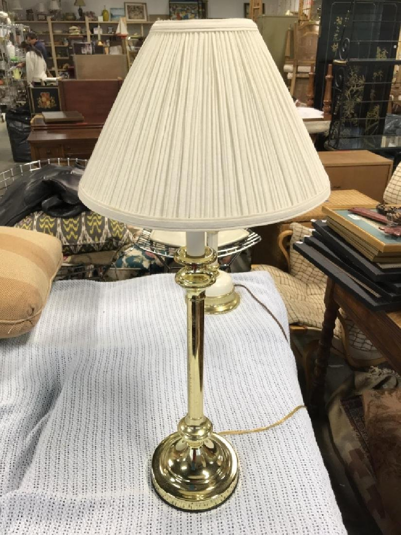 Brass Toned Metal Table Lamp W Shade