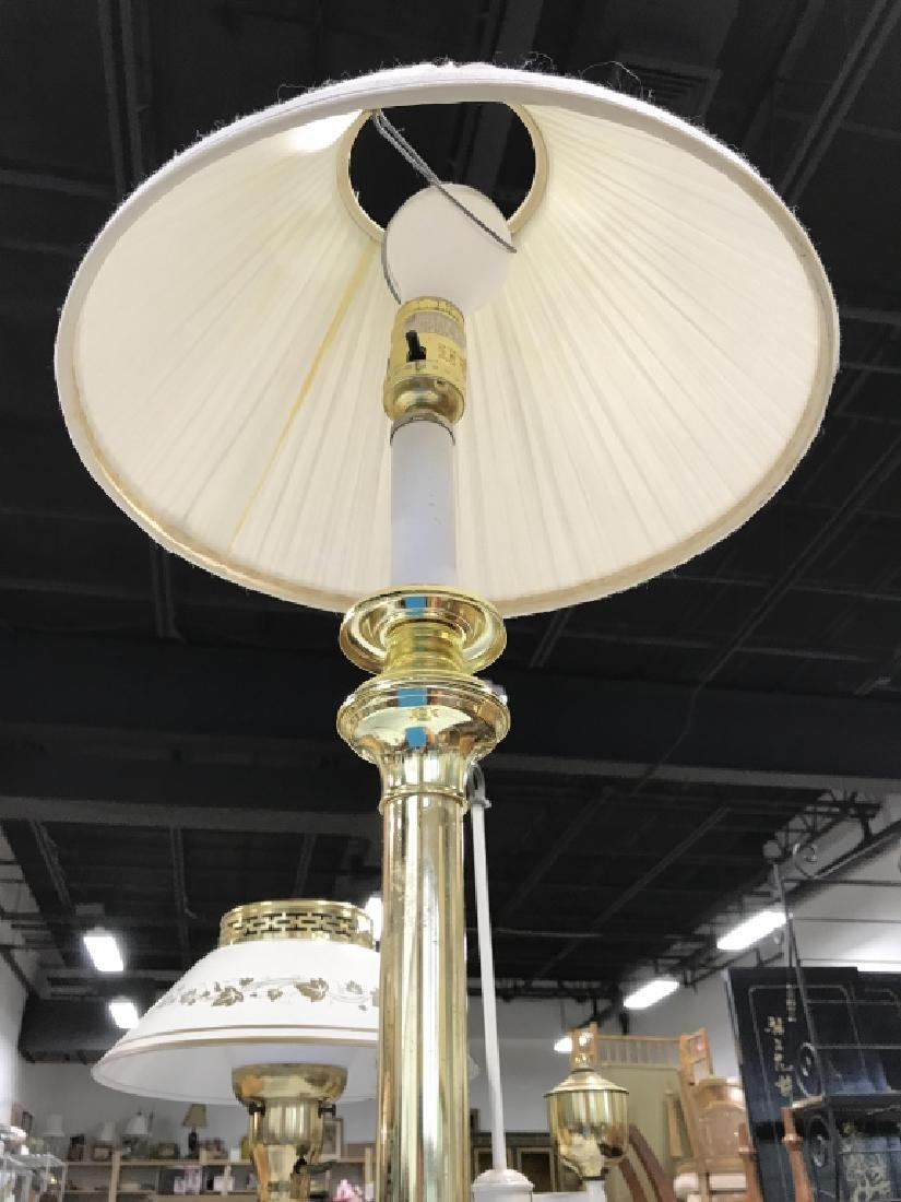 Brass Toned Metal Table Lamp W Shade - 3