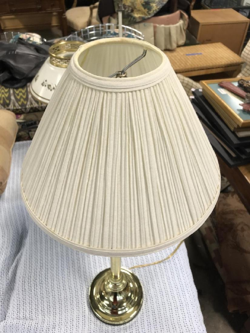 Brass Toned Metal Table Lamp W Shade - 4