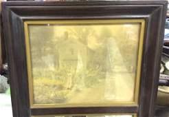 Vintage Wooden Framed Mirror W Print