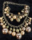 Pair Matching Faux Pearl Necklace & Bracelet