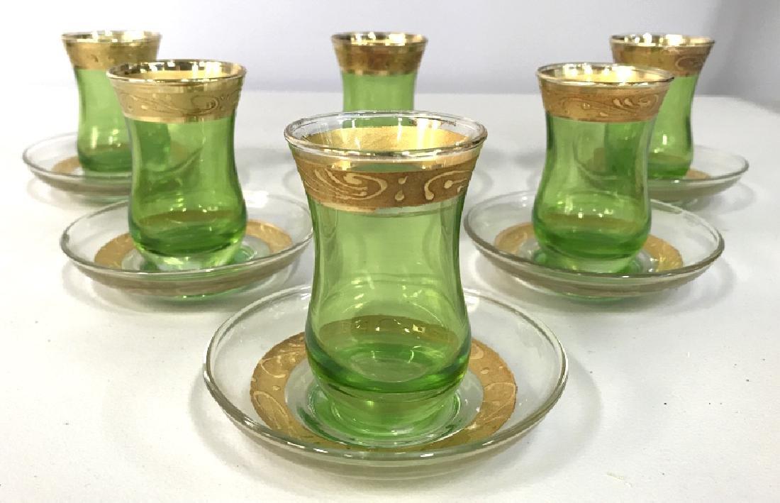 Set 12 Green & Gold Toned Bohemian Cordial Glasses
