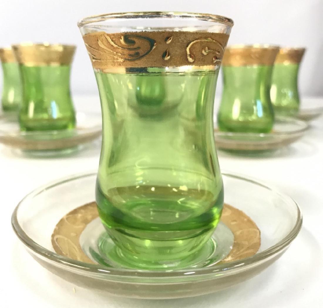 Set 12 Green & Gold Toned Bohemian Cordial Glasses - 2