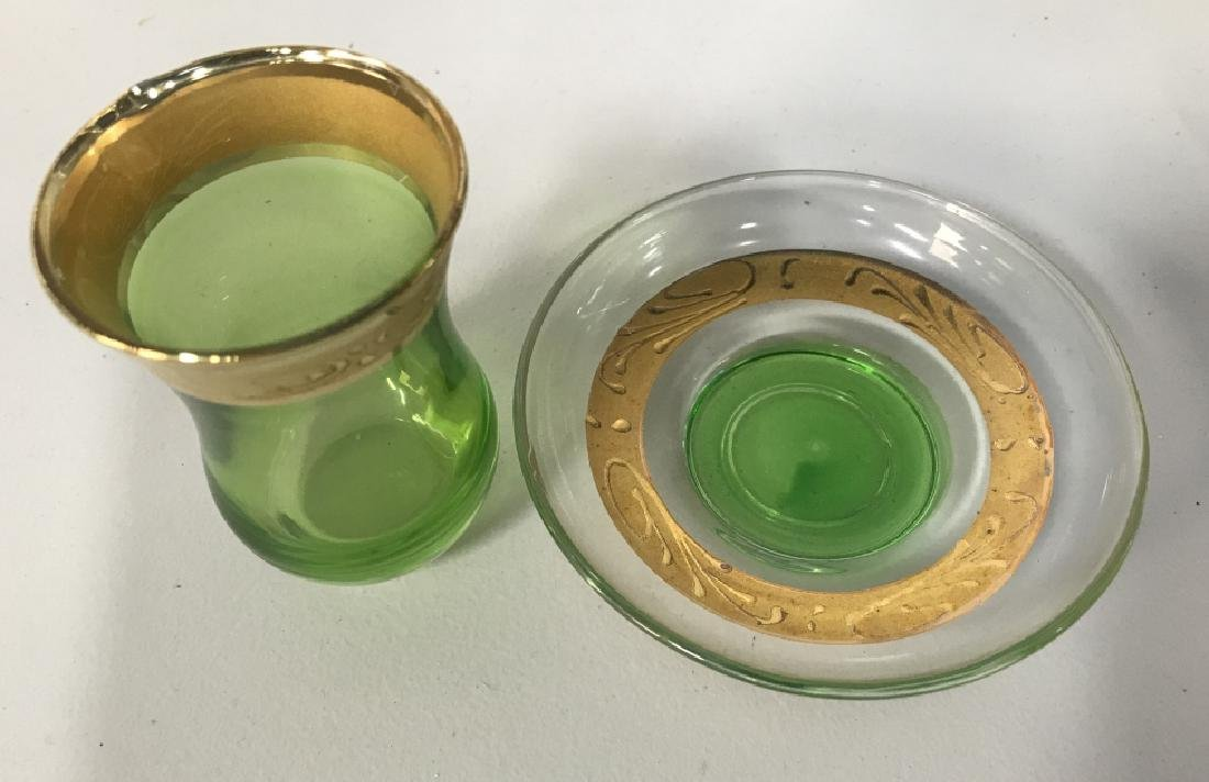 Set 12 Green & Gold Toned Bohemian Cordial Glasses - 3
