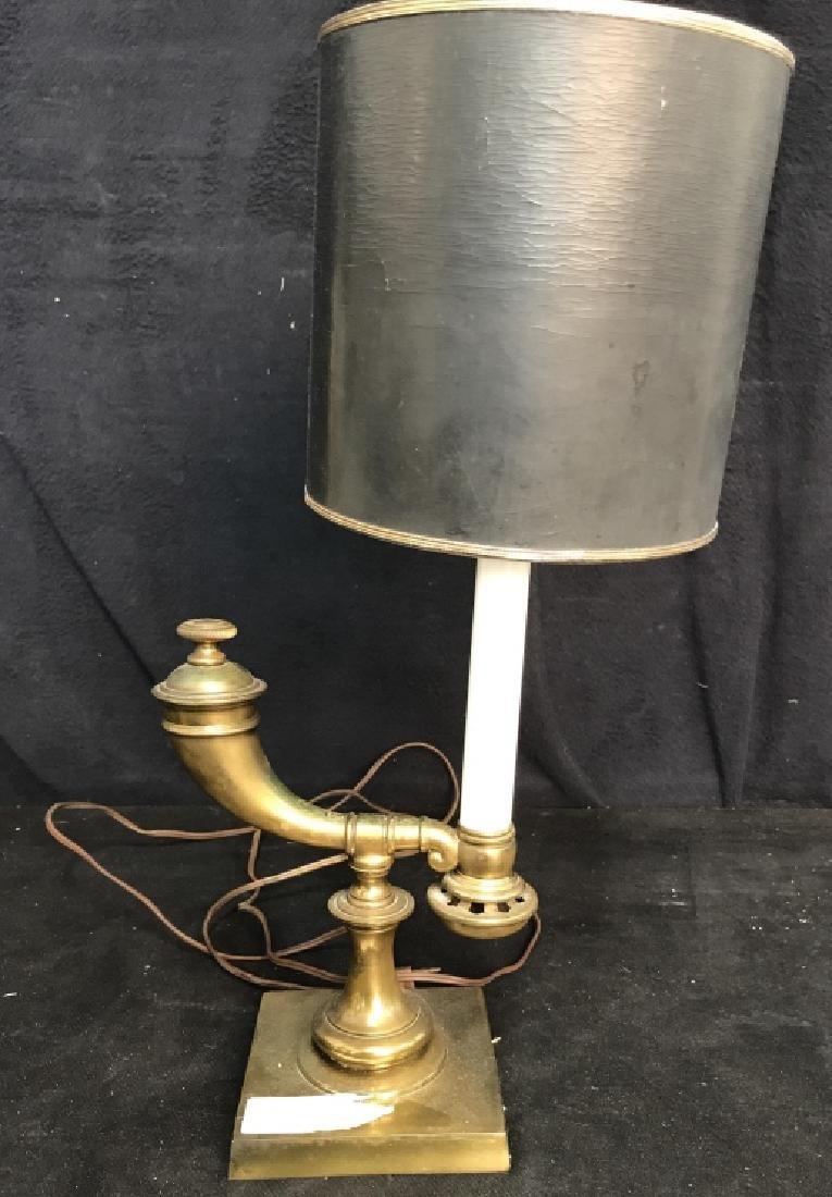 Vintage Brass Horn Form Lamp - 2