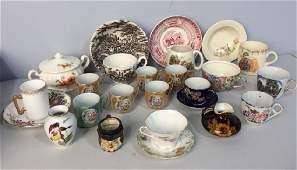 Mixed Porcelain Ceramic Cups  Saucers