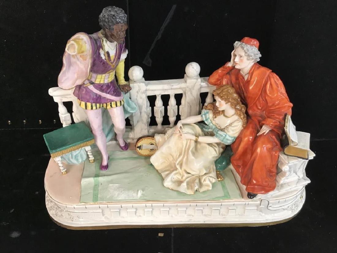 Signed Vintage Porcelain Figural Sculpture - 4