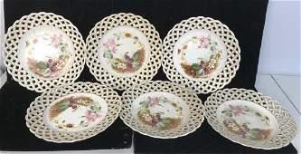 Set 6 Antique Porcelain Lattice Trim Plates