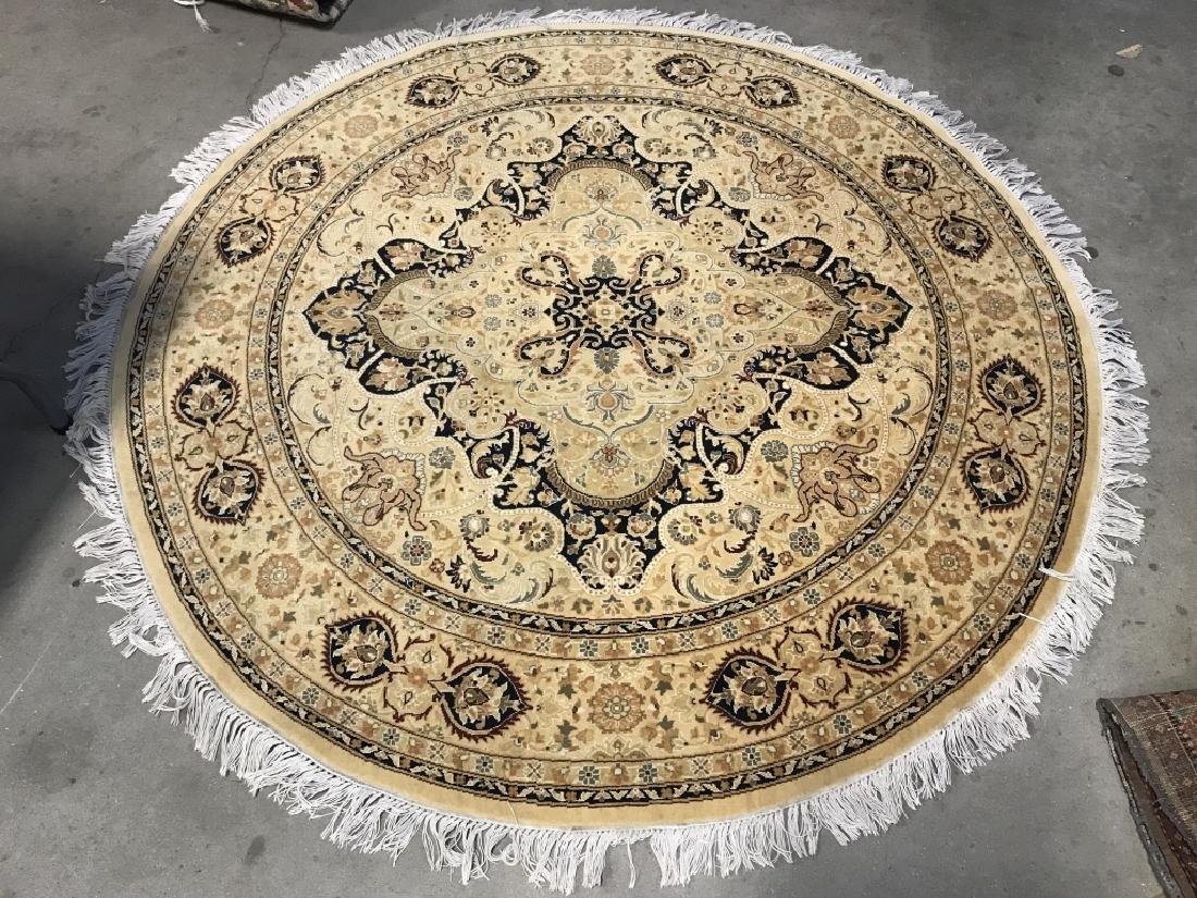 Handmade Circular Fringed Wool Rug - 2