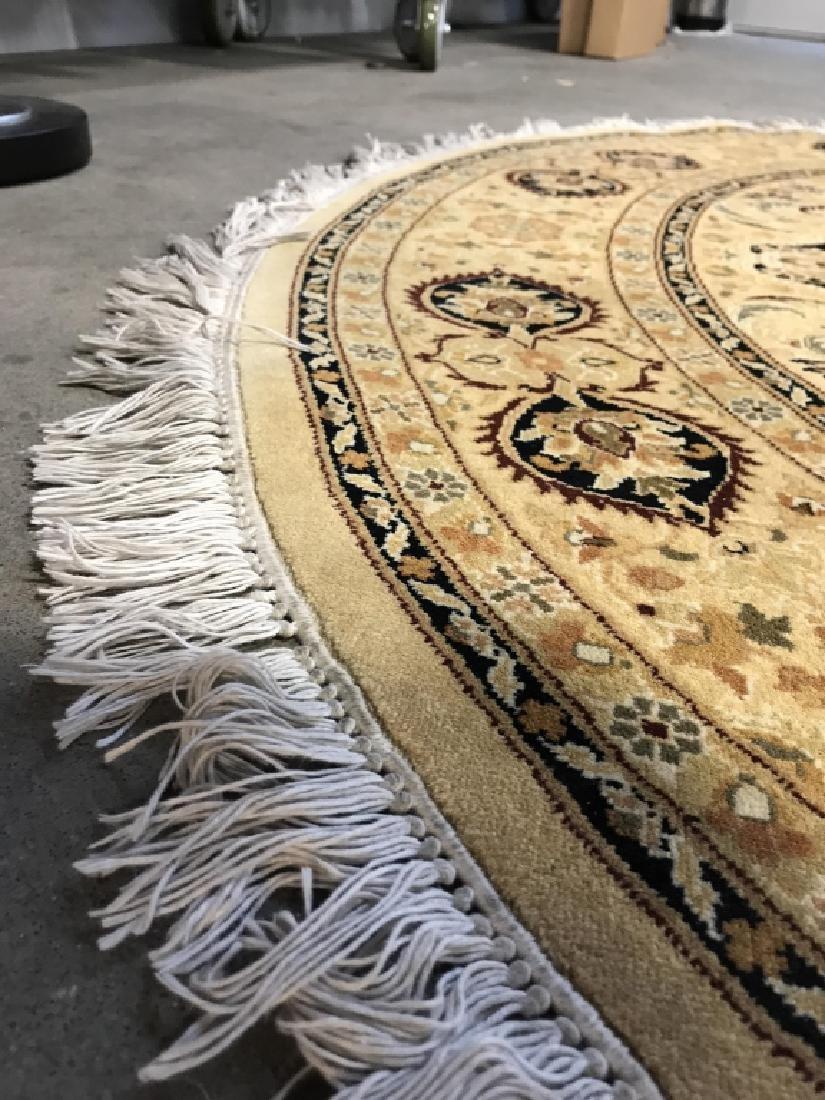 Handmade Circular Fringed Wool Rug - 5