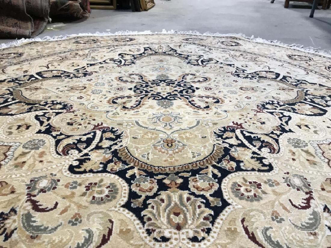 Handmade Circular Fringed Wool Rug - 8