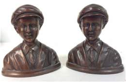 Pair Poss Bronze Male Figural Bookends