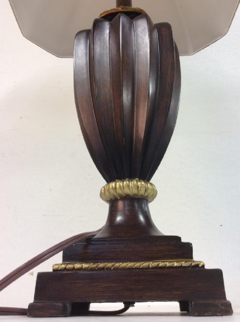Brown & Gold Toned Carved Wooden Lamp - 5