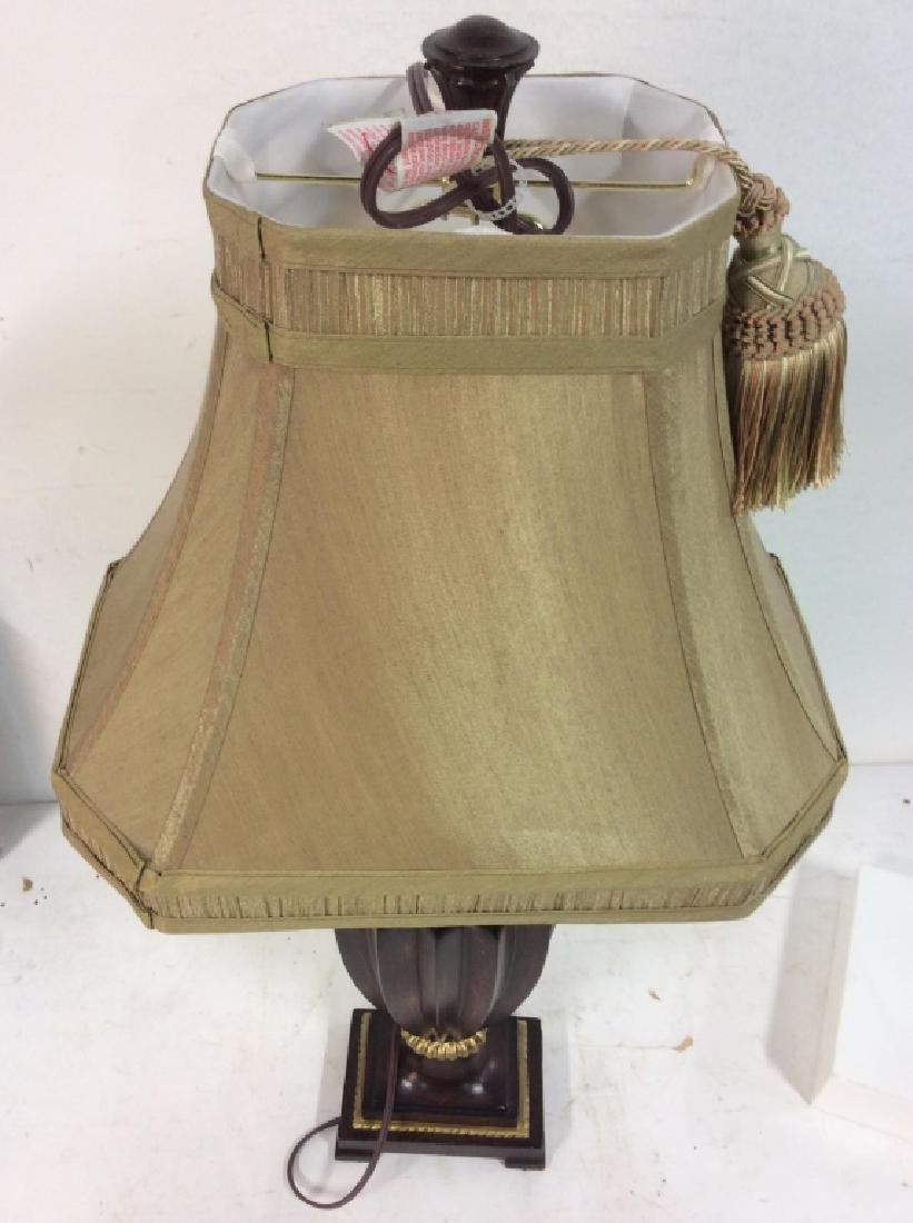 Brown & Gold Toned Carved Wooden Lamp - 6