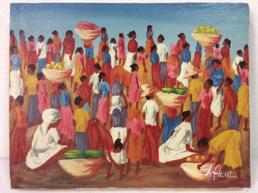 Signed Haitian Painting On Canvas - 2