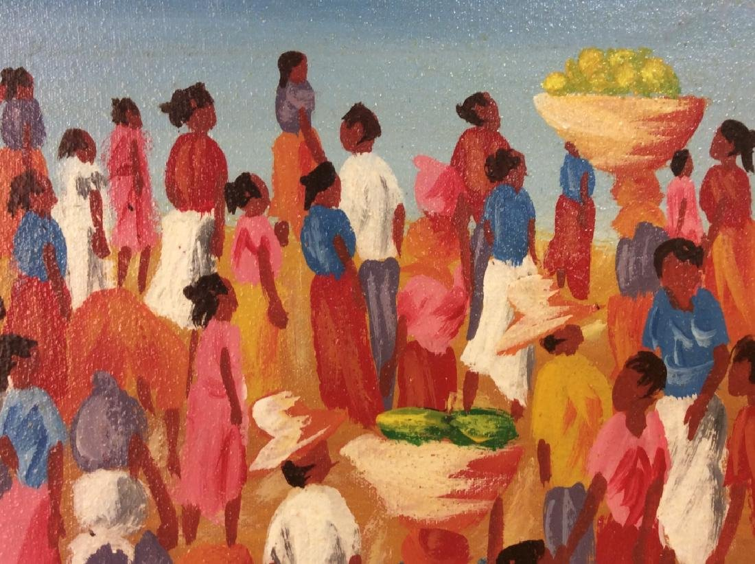 Signed Haitian Painting On Canvas - 4