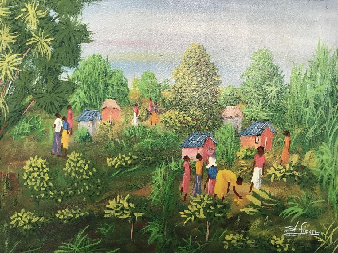 Signed Haitian Painting On Canvas