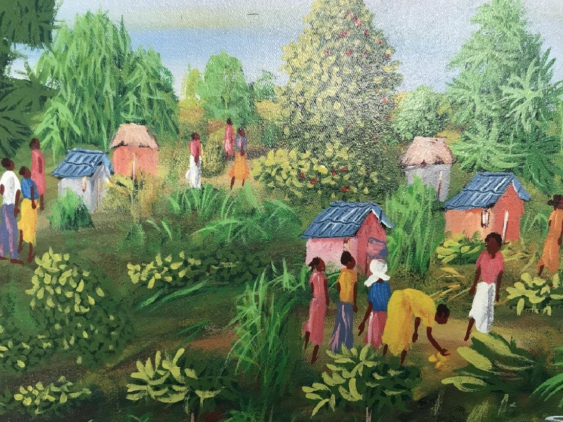 Signed Haitian Painting On Canvas - 3