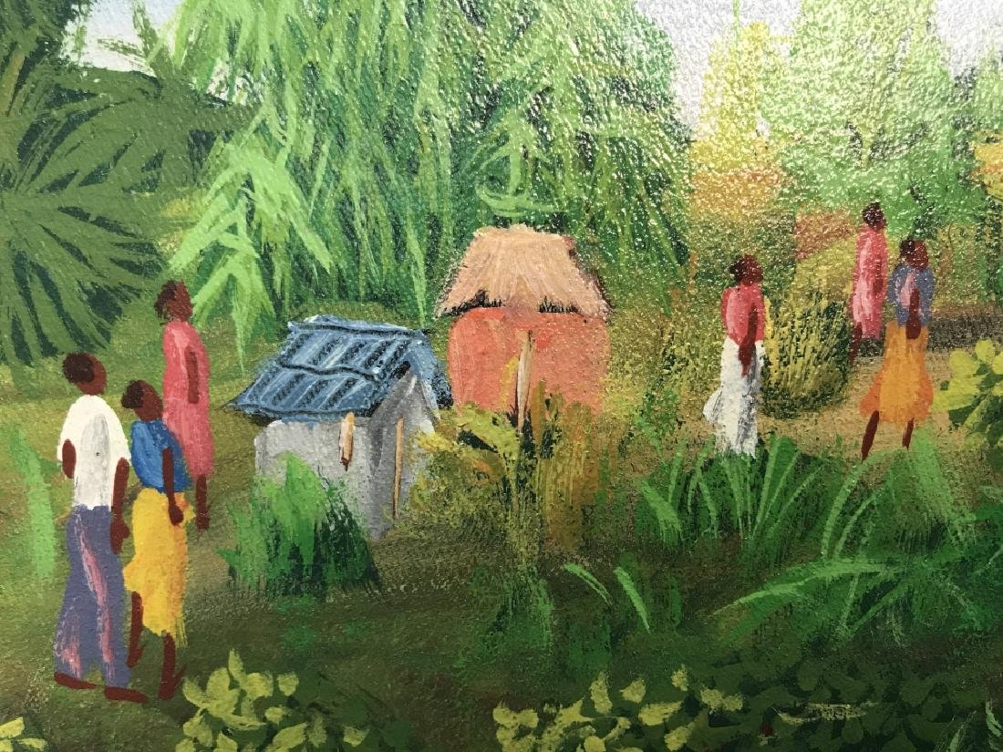 Signed Haitian Painting On Canvas - 5