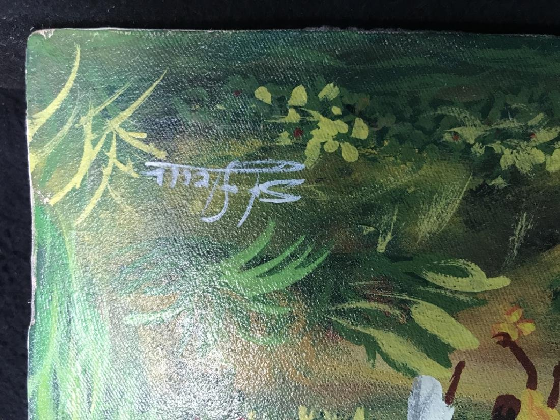 Signed Haitian Painting On Canvas - 7