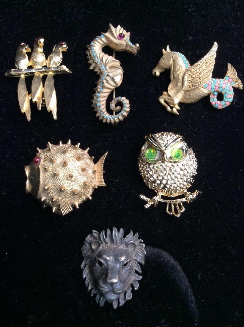 Lot 6 Women's Vintage Costume Animal Jewelry
