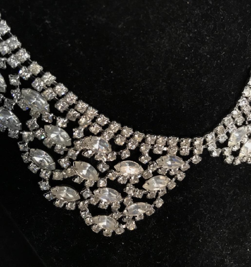 WEISS Vintage Ornate Art Deco Rhinestone Necklace - 3