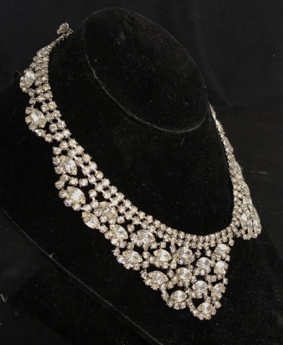 WEISS Vintage Ornate Art Deco Rhinestone Necklace - 4