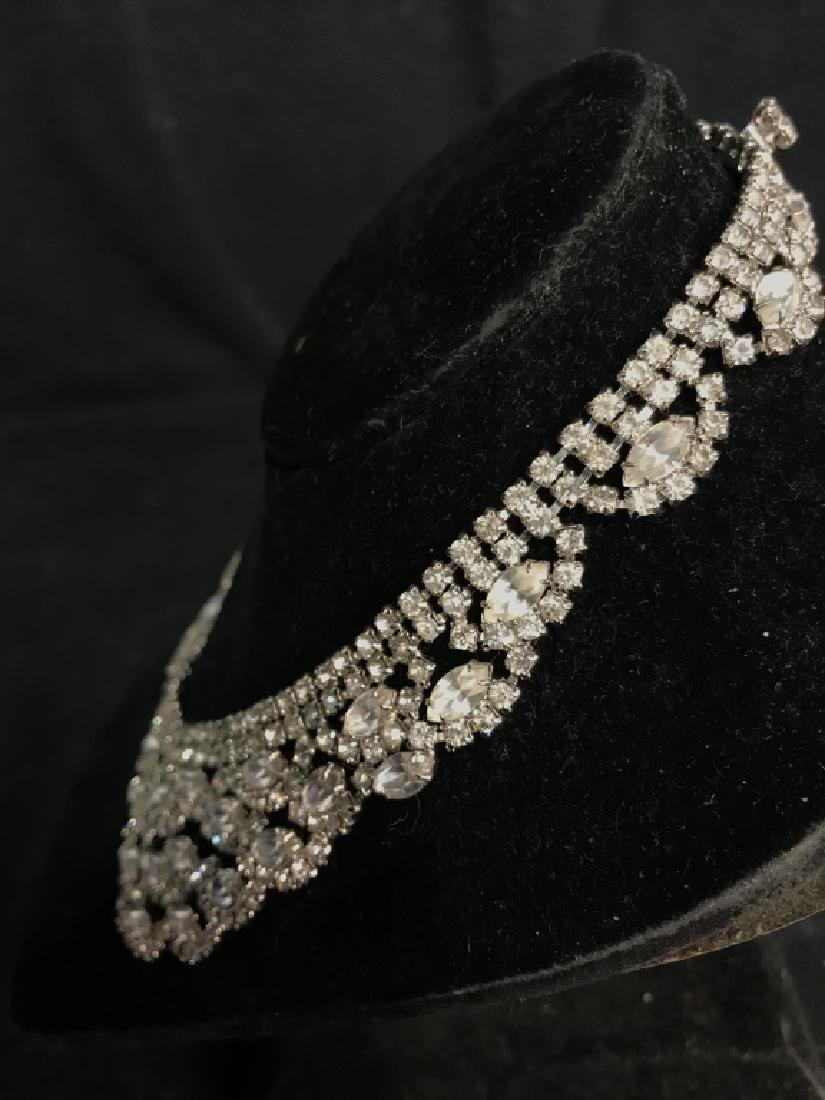 WEISS Vintage Ornate Art Deco Rhinestone Necklace - 6