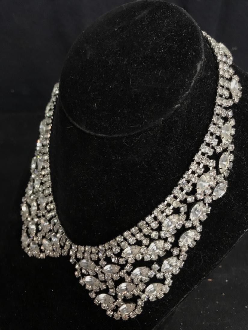 WEISS Vintage Ornate Art Deco Rhinestone Necklace - 7