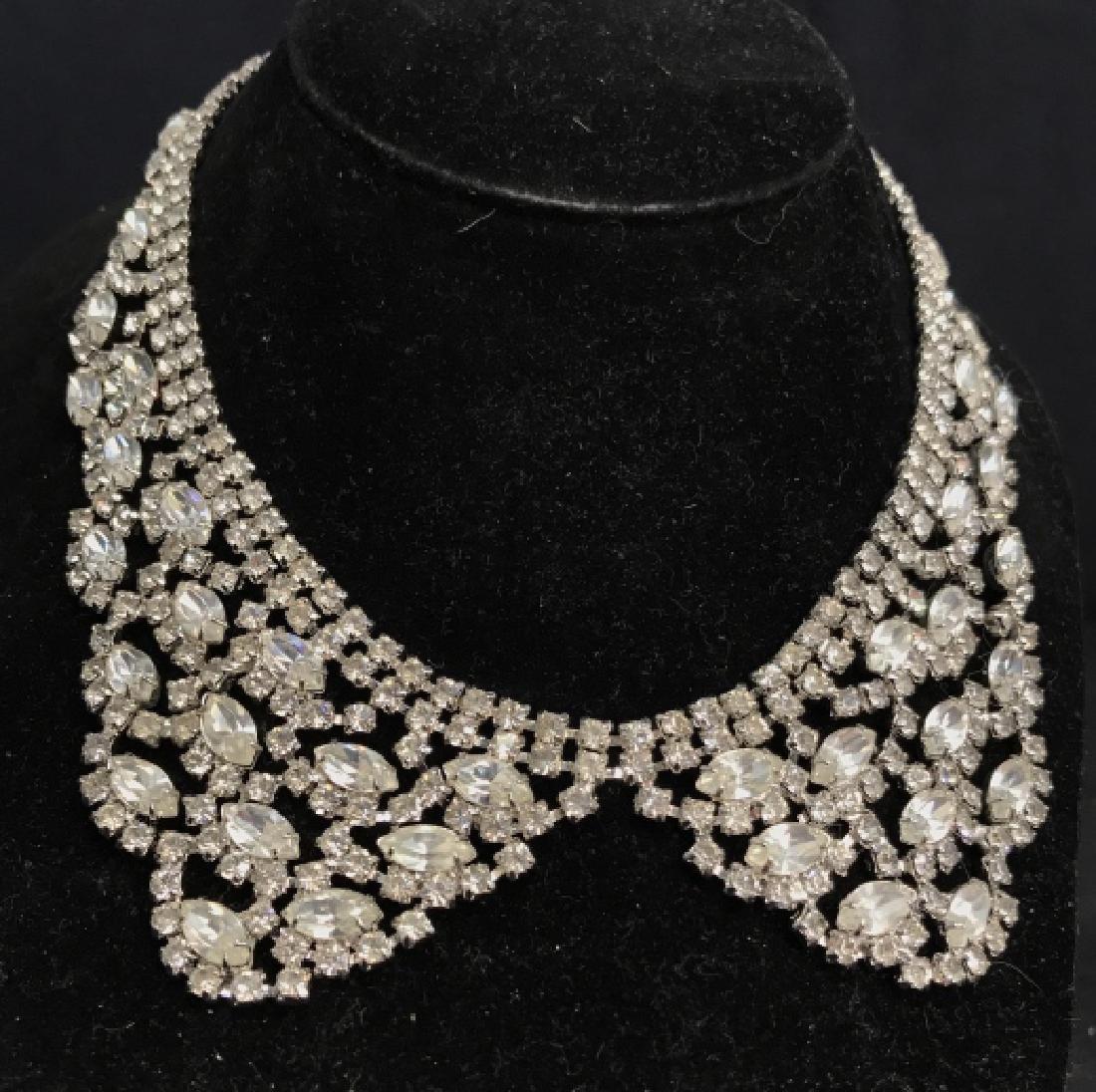 WEISS Vintage Ornate Art Deco Rhinestone Necklace - 8