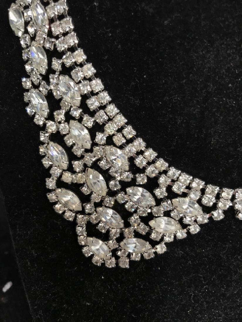 WEISS Vintage Ornate Art Deco Rhinestone Necklace - 9