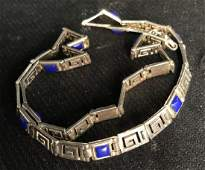 Vintage Sterling and Lapis Link Necklace