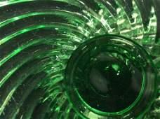 BACCARAT Vintage Green Swirl Pedestal Glass Dish