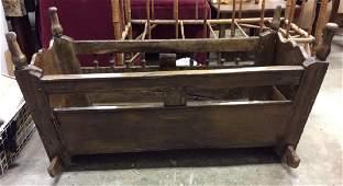 Antique Carved Wooden Rocking Cradle