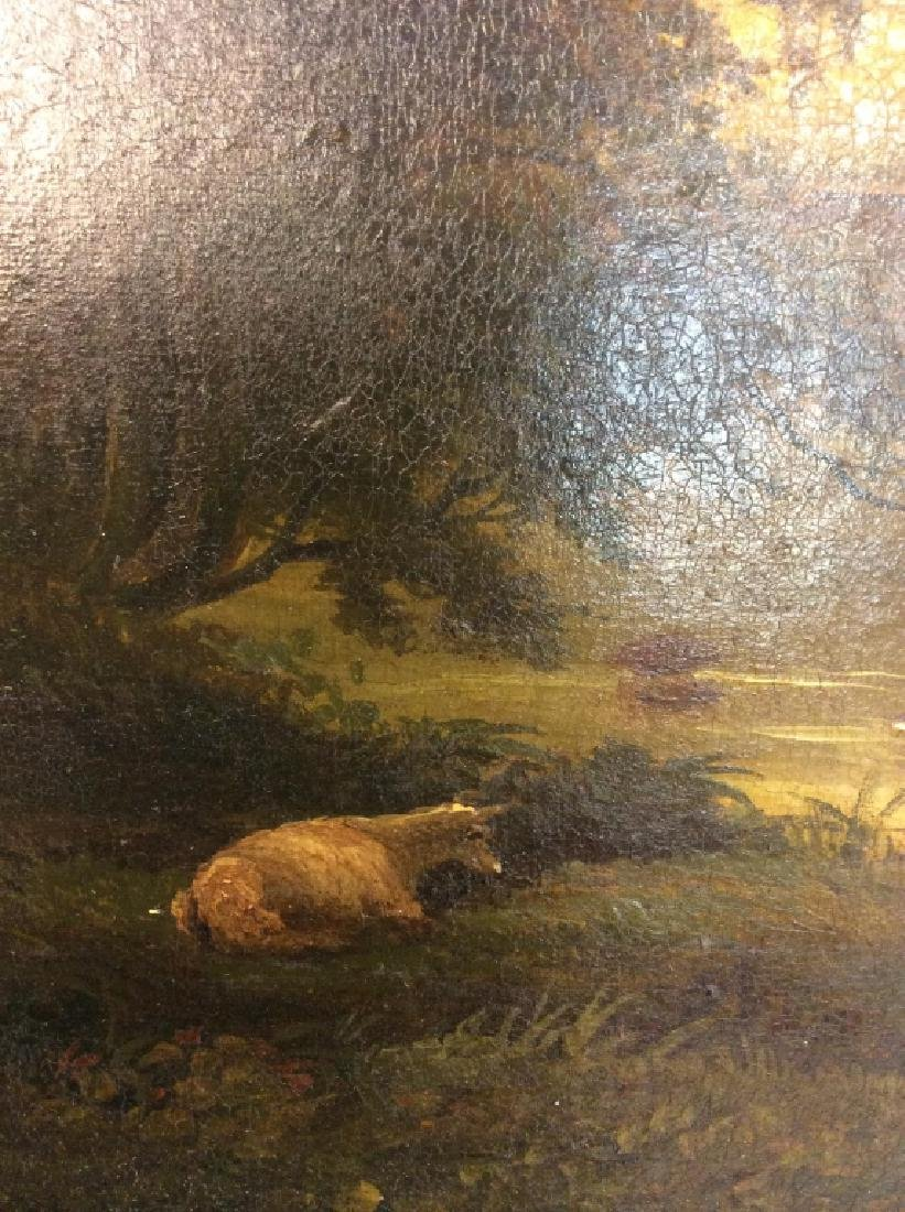 19th Cent Oil On Canvas, Cows by River - 10