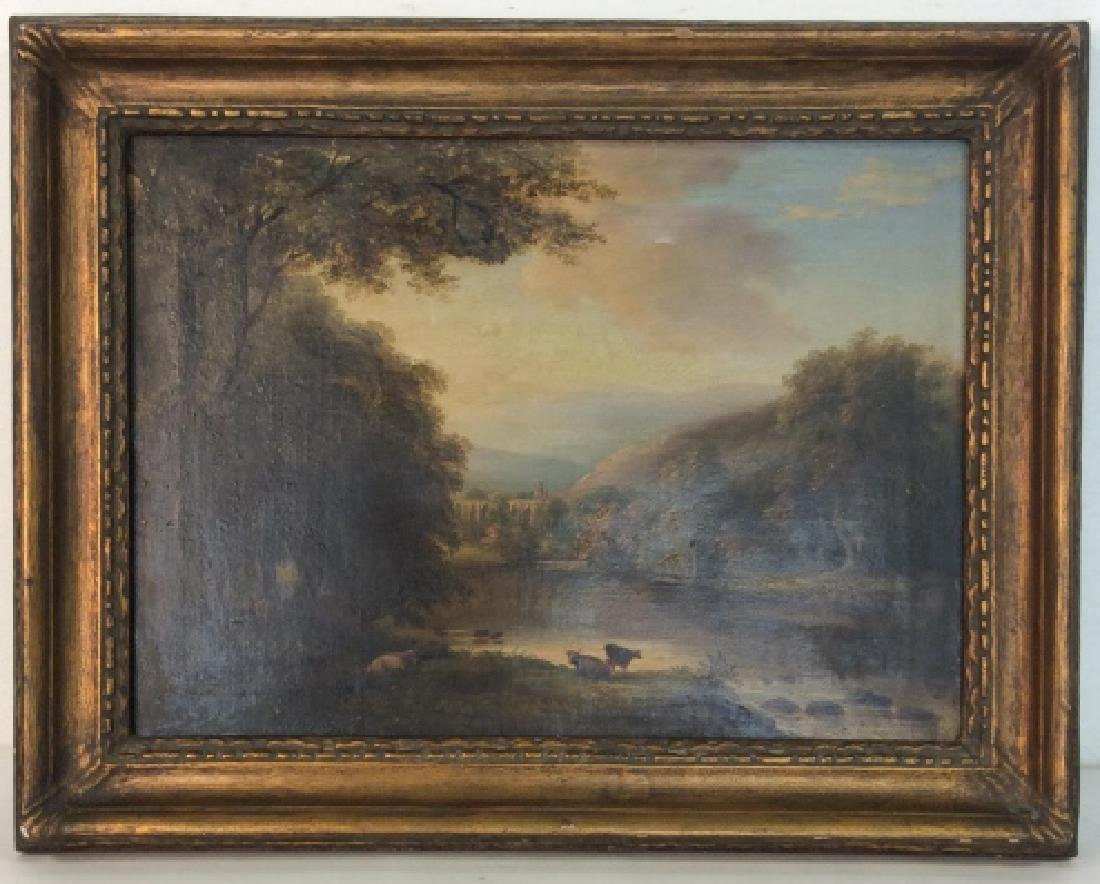 19th Cent Oil On Canvas, Cows by River