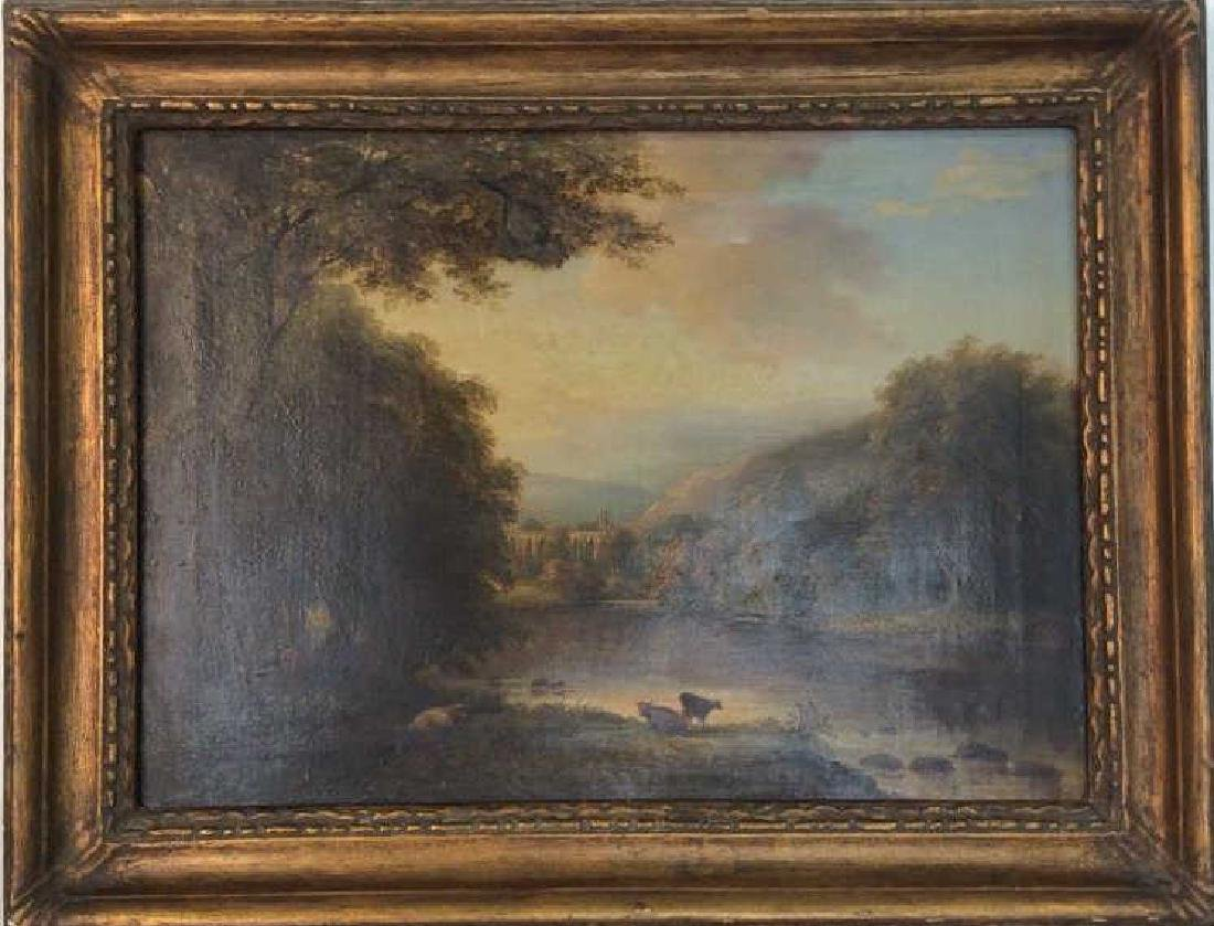 19th Cent Oil On Canvas, Cows by River - 2