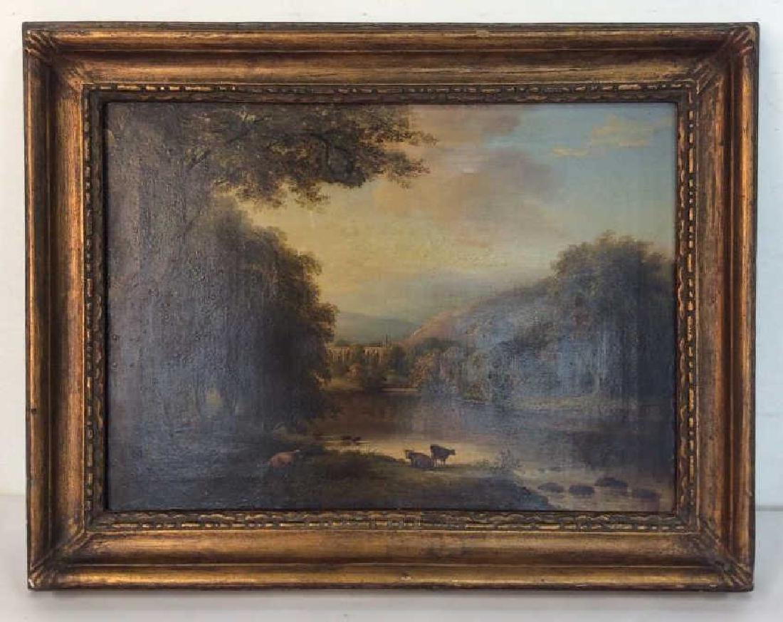 19th Cent Oil On Canvas, Cows by River - 3