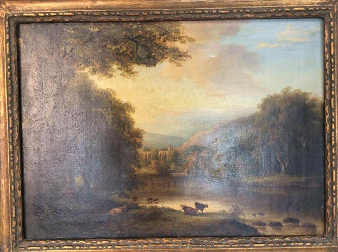 19th Cent Oil On Canvas, Cows by River - 4