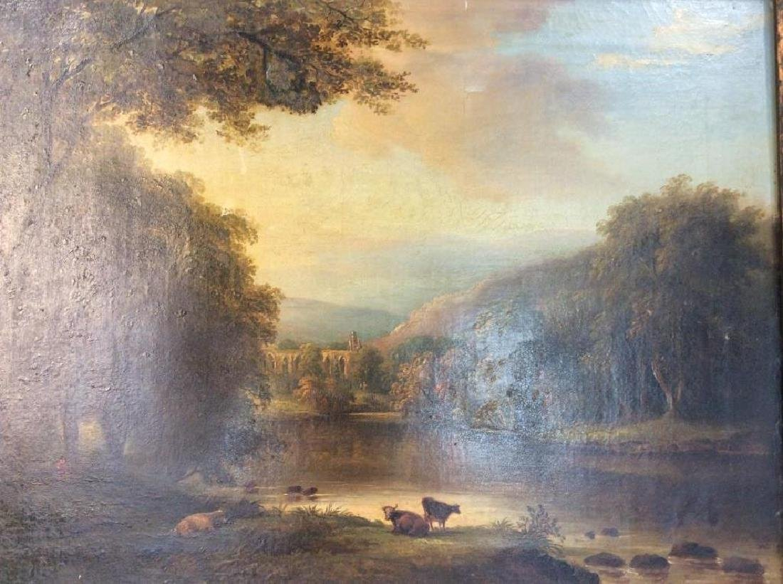 19th Cent Oil On Canvas, Cows by River - 5