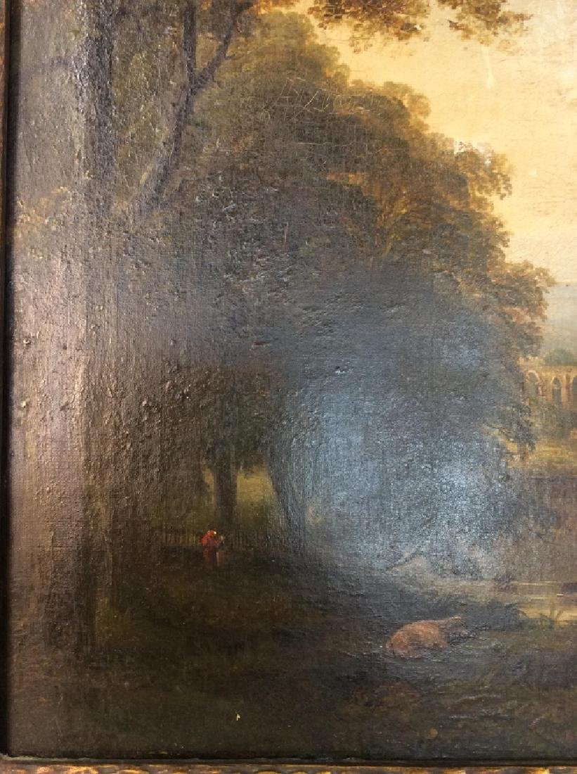 19th Cent Oil On Canvas, Cows by River - 7