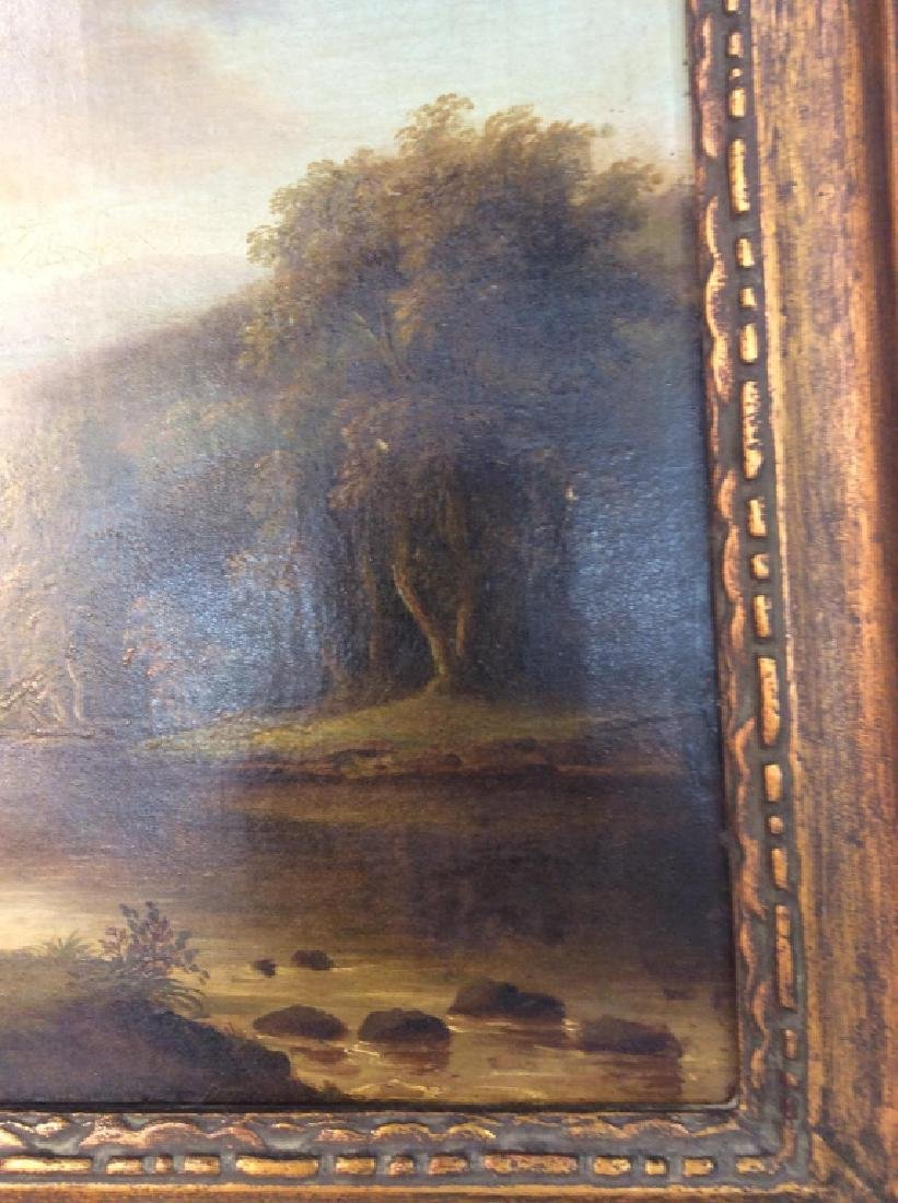 19th Cent Oil On Canvas, Cows by River - 8