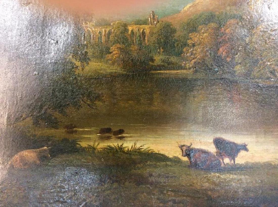 19th Cent Oil On Canvas, Cows by River - 9