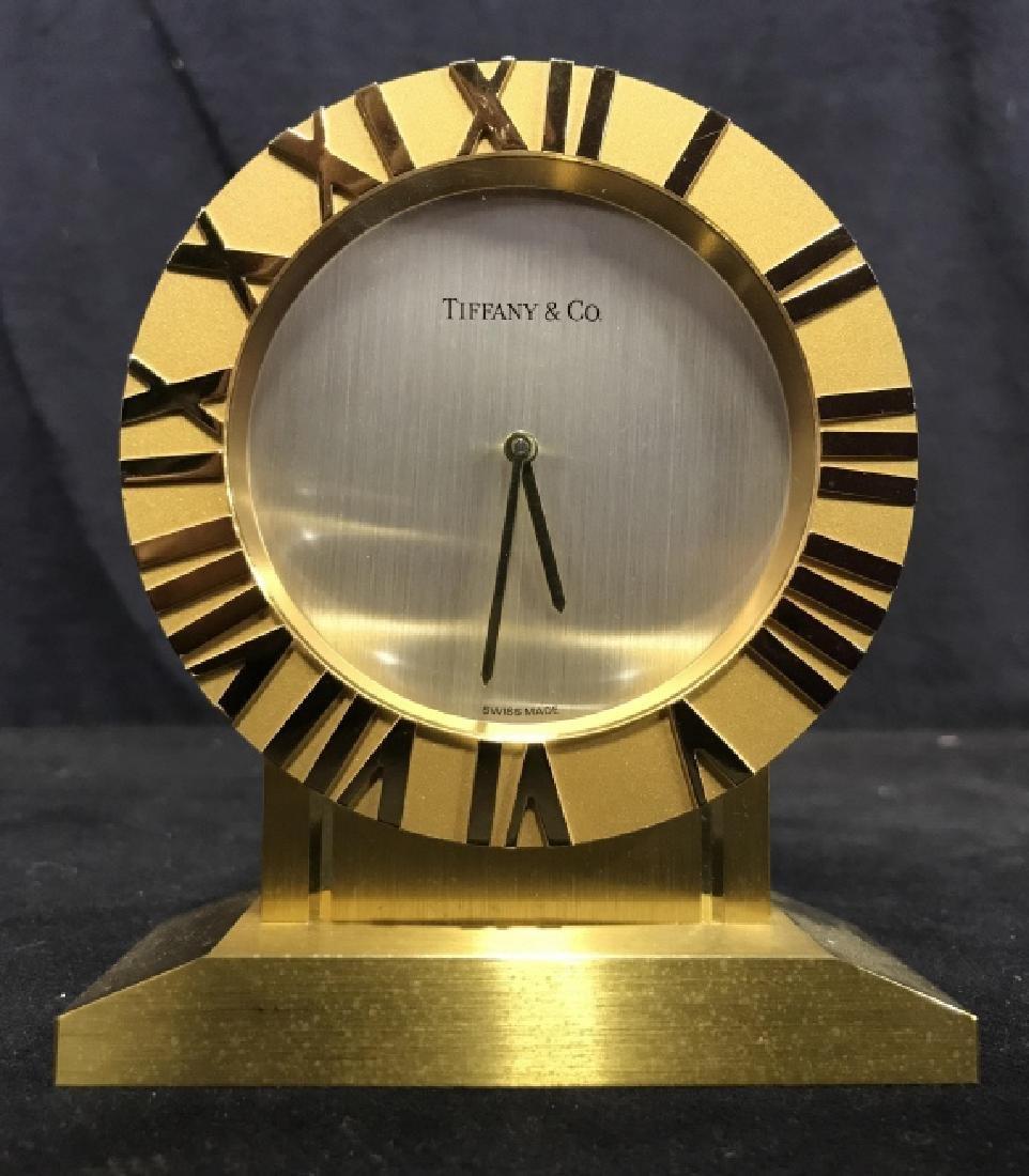 Gold Toned TIFFANY & CO Desk Clock