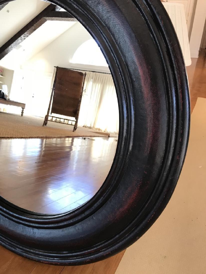 Wide Black Red Wood Framed Circular Mirror