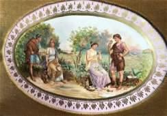 LAMPERT, Hand Painted Porcelain Placque Framed