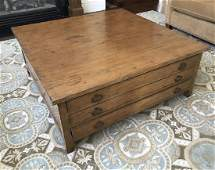 Oak Toned Wooden Coffee Table W Long Drawers