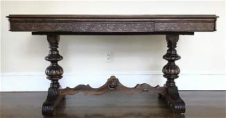 Antique Carved Trestle Table With Baluster Legs