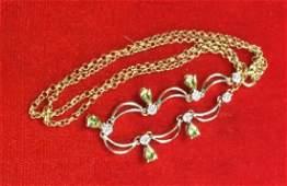 14K Gold Necklace W Tanzanite and Diamonds